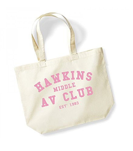 Hawkins Middle AV Club, Est' 1983 - Large Canvas Fun Slogan Tote Bag Natural/Pink