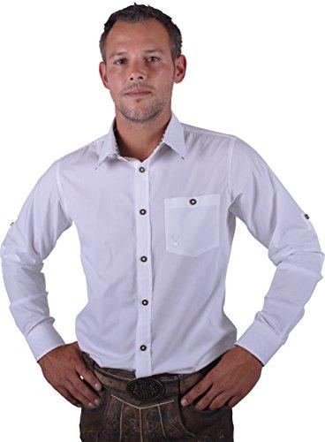 Almwerk Herren Trachten Hemd weiß Modell Ottmar 100{62e117ec00e964ecdc1f3b983851e4d6633a4816da9cc0e59e70b1176fcbdf5c} Baumwolle kariert an Ärmel und Kragen in Rot, Grün, Schwarz, Blau, Braun und Schwarz, Farbe:weiß/braun;Größe:S