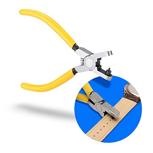 MMOBIEL Lochstanze Leder Uhrenarmband Band Leather Watch Strap Gürtel Loch Uhrenmacher Zange Werkzeug Lochzange Armbandurh Locher mit gelbem nonslip Vinyl Griff für einen Sicheren Halt