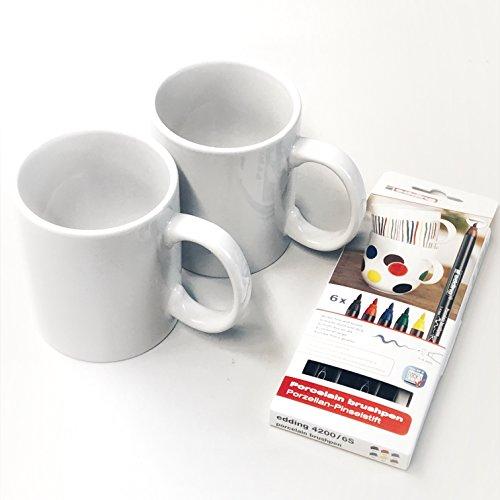 Porzellanstifte und 2 Tassen - Kreatives Geschenk zu Weihnachten, Geburtstag, Hochzeit, Muttertag (2 Tassen + Stifte)