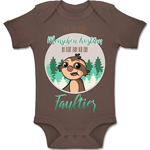 Haustier Mensch Kostüm Passende Und - Shirtracer Karneval und Fasching Baby - Das ist Mein Menschen Kostüm in echt Bin ich EIN Faultier - 12-18 Monate - Braun - BZ10 - Baby Body Kurzarm Jungen Mädchen