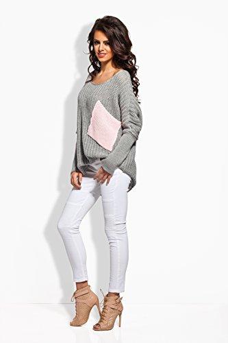 Pulli Sweatshirt Oversized Look Jersey warm Grau