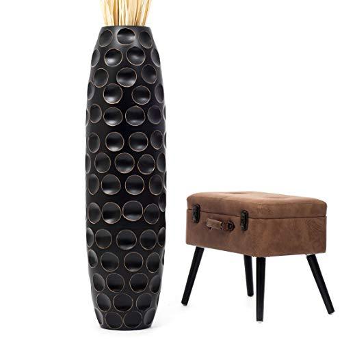 Leewadee Große Bodenvase für Dekozweige hohe Standvase Design Holzvase 112 cm, Mangoholz, schwarz