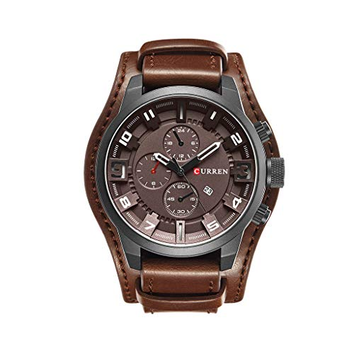 UINGKID Herren Uhr analog Quarz Armbanduhr wasserdicht Uhren Date Sports Military Clock Lederband Quarz Business Uhr