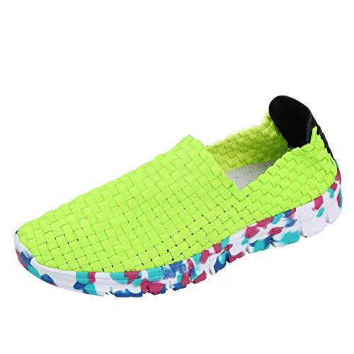 Sillor Freizeitschuhe Damen Mode Mischfarben Nicht gewebt Leichtgewicht Bequem Slip-On Flache Atmungsaktiv Sneaker Casual Wandern Jogging Laufschuhe