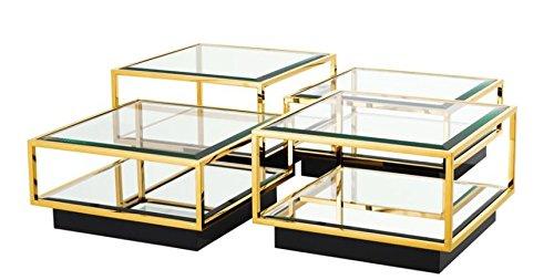 Casa Padrino Art Deco Luxus Couchtisch Gold 4er Set - Wohnzimmer Salon Tisch
