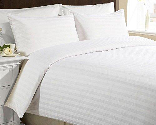 Parure de lit satinée à rayures - Riche en coton - 200 fils - Sleep&Beyond, Coton majoritaire, blanc, King