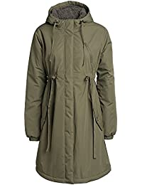 Khaki Green Empire Line High Waisted Showerproof Casual Mid Weight Parka Coat Jacket