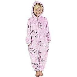 Pijama Unicornio Niña Onesie Pijamas Niñas Entero Brilla en la Oscuridad Glow in The Dark 3-14 ANS (13-14 años, Rosa)