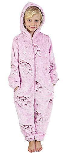 CityComfort Jumpsuit Mädchen Einhorn Onesie Leuchtet im Dunkeln Overall Hausanzug Warme Fleece 3-14 Jahre (9-10 Jahre, Rosa) (Jumpsuits Einhorn)