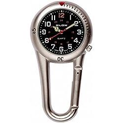 uWANTit Silver Clip On Carabiner Metal Fob Watch Black Dial Paramedic Doctor Nurse Unisex Men Women