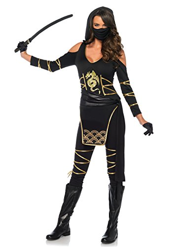 Leg Avenue 85629 3 teilig Set Stealth Ninja, Damen Karneval Kostüm Fasching, M, (Assassin Kostüm Amazon)