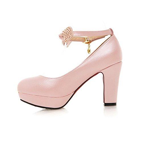 AgooLar Damen Weiches Material Rund Zehe Hoher Absatz Schnalle Eingelegt Pumps Schuhe Pink