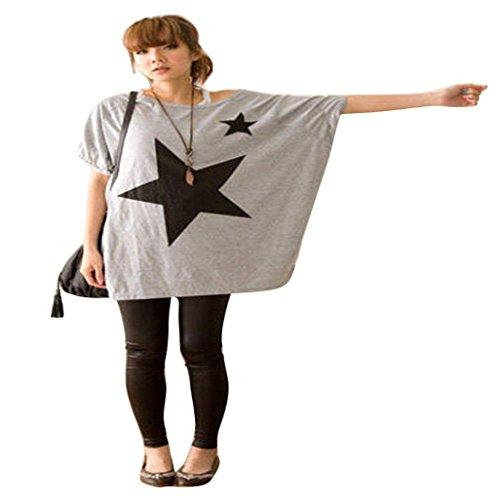 MEIbax Clearance ❤️frauen lange frei batwing - dolman ärmel t - shirt lässig - bluse (freie Größe, Grau) (Lange Dolman)