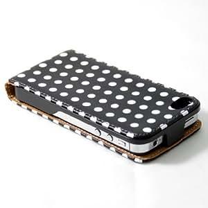 14010501 Étui à clapet en cuir pour iPhone 4/4S avec film protecteur d'écran Noir à pois blancs