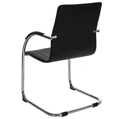 Mendler 2x Konferenzstuhl Samara, Besucherstuhl Freischwinger, PVC ~ schwarz - 5