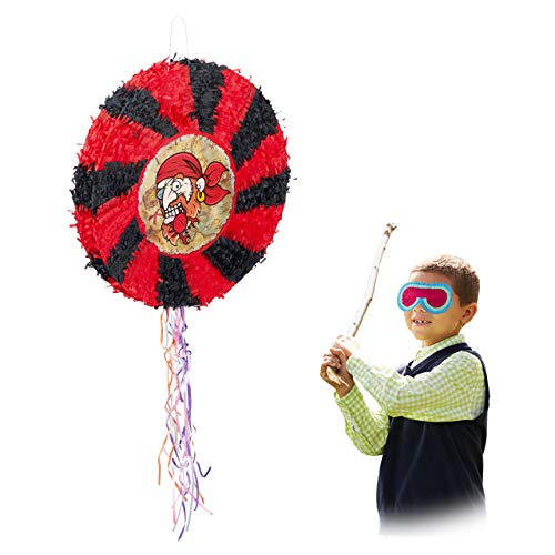 inata Pirat, zum Aufhängen, für Kinder, Jungs, Geburtstag, zum selbst Befüllen, rund, Zugpinata, schwarz-rot ()