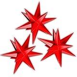 Drei rote Sterne Sternschmiede (Art.Nr.61) inkl. Netzteil mit 3-fach-Verteiler, Fenster-Clip und Distanz-Stab, Sterndurchmesser 19cm, Papier, für den Innenbereich