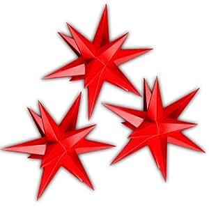 3 weihnachtssterne aus papier beleuchtet sternschmiede 3 komplett rote weihnachtssterne. Black Bedroom Furniture Sets. Home Design Ideas