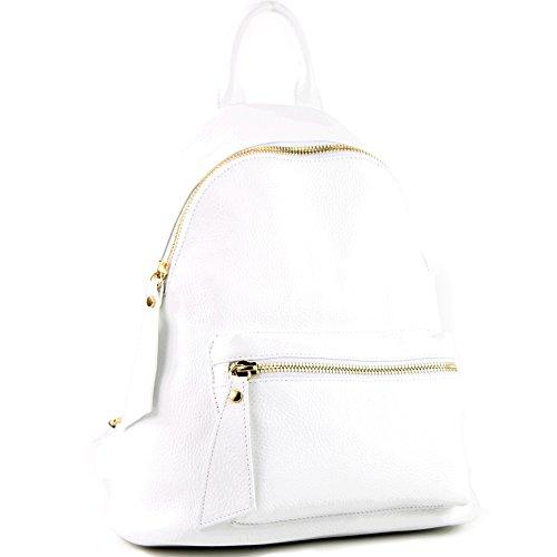 modamoda de - ital Damen Rucksacktasche aus Leder T171A, Präzise Farbe:Weiß