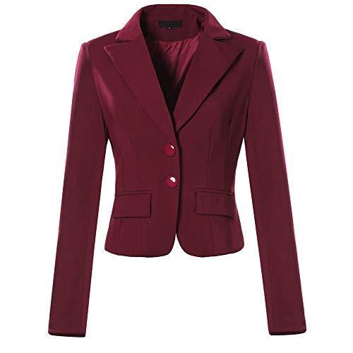 Amphia Damen Sakko Damen Blazer Damen Kurzjacke Damen Strickjacke,Damen Jacke Volltonfarbe Zwei-Knopf-Tasche Slim Fit Small Suit Coat