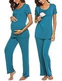 UNibelle Damen Lange Stillpyjama Stillnachthemd Schlafanzug für Schwangere Umstandsmode