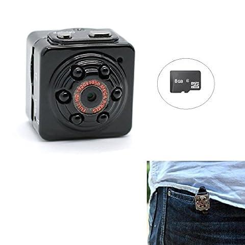 PANNOVO Mini cachée espion caméra avec 8GB Carte, de Sport Mini DV HD 1080P 12.0 mp Dash Caméra DVR détection de mouvement caméra vidéo avec caméra vision nocturne