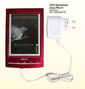 Netzteil weiß für Sony PRS-T1 eBook Reader Touch Digital Book. 230V Travelcharger für Sony E-Book PRS T1 - Ladegerät für die Steckdose. 110V - 230V -weiss