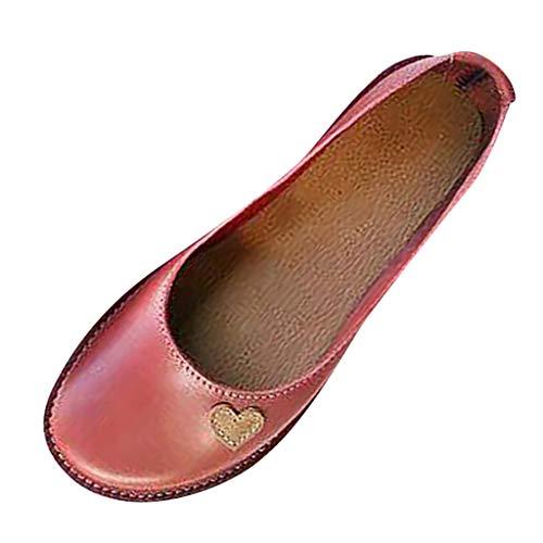 Damen Runder Kopf Slip-On Single Schuhe Sommer Flache rutschfest Freizeitschuhe Lederschuhe Bequem Retro Loafers Gr.35-43 Metallic Thong Sandal