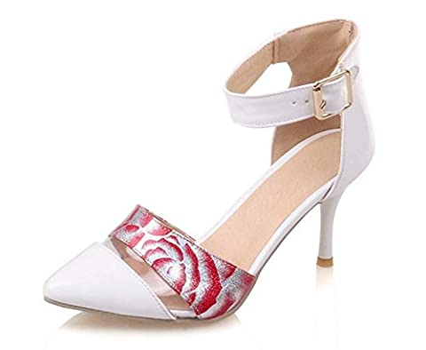 FARALY Femmes Shallow Talons hauts Sandales Printed Roses Custom Cheville Strap Grande taille 32-45 Dressing Shoes Work Shoes , white , 45 (not returned)