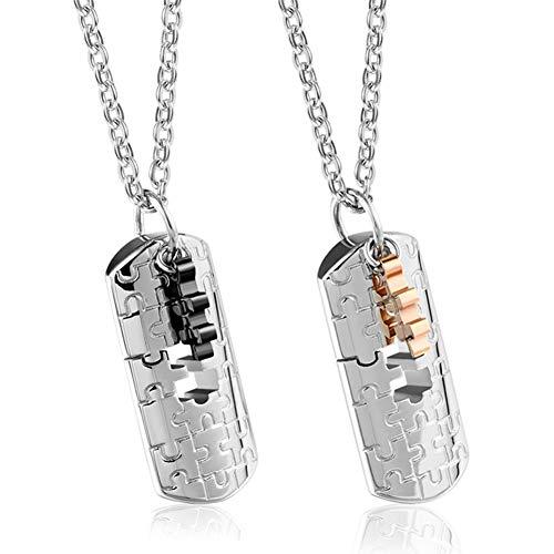 Meifyomng 2 Titan Stahl Partner-Ketten mit puzzle anhanger parchen kette für Paare Geschenk zu Weihnachten(2)