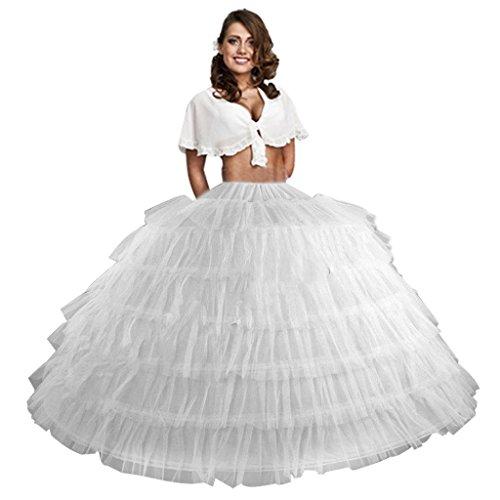 Edith qi Damen Unterrock Weiß weiß Einheitsgröße Gr. Einheitsgröße, 7 Hoop/White