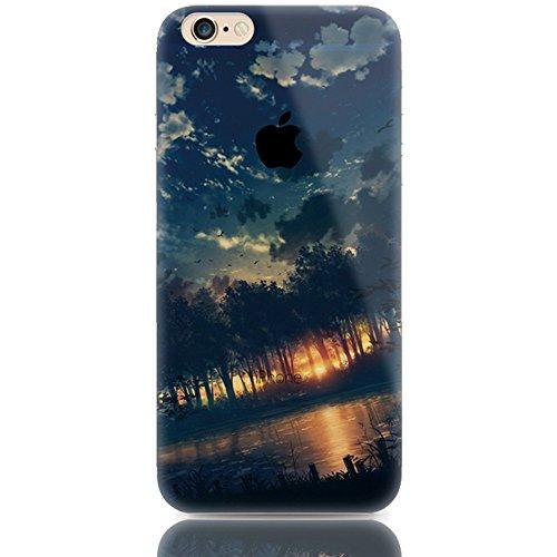 Sunroyal iPhone 6 Plus 6S Plus (5.5 Zoll) Hülle Blau Blue TPU Case Schutzhülle Silikon Rückseite Klar Clear Case Durchsichtig Bumper Zurück Bling Crystal Kirstall Diamant Strass Rhinestone Frame Rahme Kreativ 10