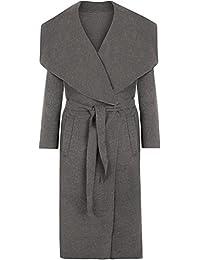 Crazy Girls Womens Ladies Celebrity Kim Kardashian Style Drape Waterfall Jacket Long Sleeve Belted Oversized Trench Coat UK 8-14