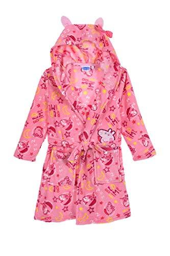 Peppa Wutz Pig Mädchen Bademantel flauschig und warm Coral Fleece Morgenmantel (Pink, Größe 98)