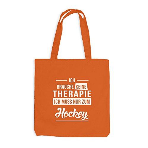 Jutebeutel - Ich Brauche Keine Therapie Hockey Orange