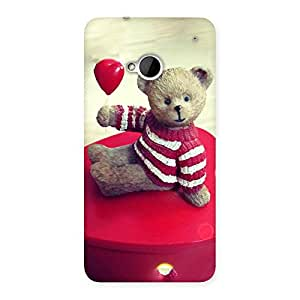 Impressive Red Heart Teddy Back Case Cover for HTC One M7