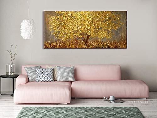 Orlco Art Wanddekoration, handbemalt, Landschafts-Blumen-Wandkunst, abstraktes Palettenmesser, goldfarbener Baum mit Blüten, Ölgemälde auf Leinwand, Familienzimmer, Wohnzimmer-Kunst Wanddekoration -