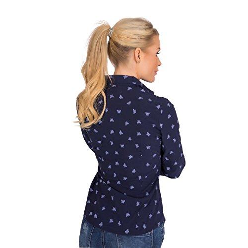 10830 Fashion4Young Damen Langarm Businessbluse Bluse Business Hemdbluse Stretch Schmetterling Dunkelblau
