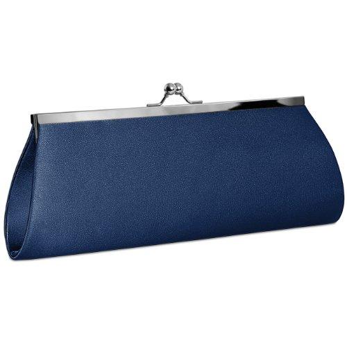CASPAR klassische Damen Satin Clutch/Abendtasche mit elegantem Metallbügel - viele Farben - TA309, Farbe:dunkelblau