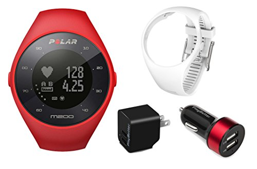 Polar M200 (Red) Running GPS Watch Power Bundle | Includes Extra Silicone Wrist Band (White) & PlayBetter USB Car/Wall Charging Adapters | Running Watch with Wrist HR