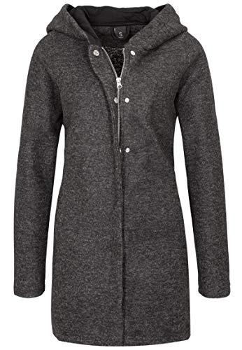 Sublevel Damen Sweat Mantel mit Reißverschluss und Kapuze Black M