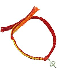 fourseven Red And Yellow Simplicity Moli Bracelet With 925 Sterling Silver Shakti Trishul Charm For Men & Women