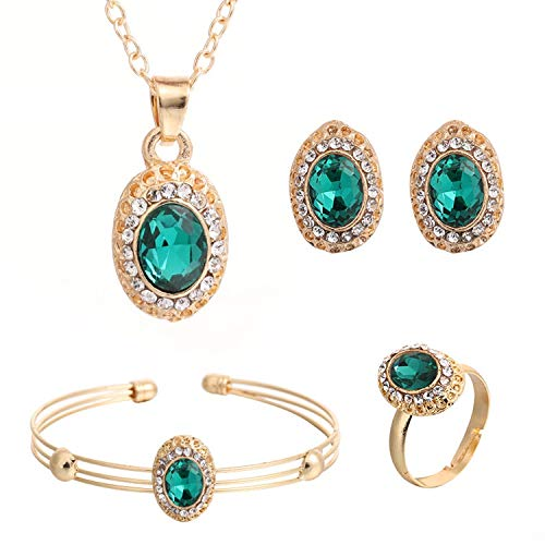 sche Und Koreanische Mode Oval Kristalledelstein-Intarsien-Anhänger-Halskette Ohrringe Armband-Ring-Schmuck-Set weiblichen Schmucks ()