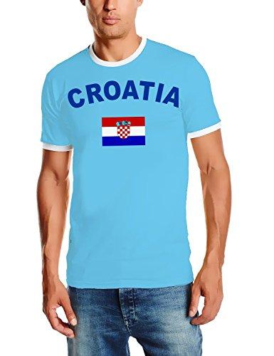 EM 2016 Kroatien Fußball T-SHIRT TRIKOT mit Deinem NAMEN + NUMMER ! HERI Ringer Sky Gr.S (Kroatien-fußball-t-shirt)