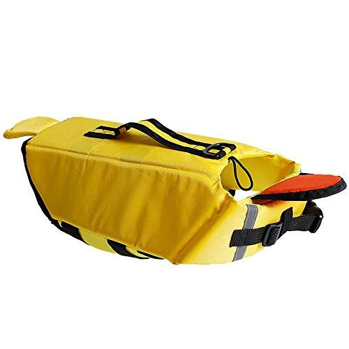 (Roblue Haustier Rettungswesten Gross Mittelgross Hunde Welpen Verstellbar Schwimmweste mit Griff Hai Ente Kostüm Reflektierend Float Coat)