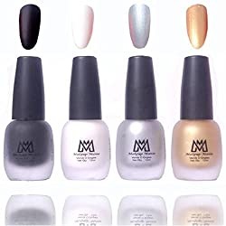 Makeup Mania Premium Nail Polish, Combo of 4 Velvet Matte Nail Paint - Black, White, Silver, Golden, 12 ml each bottle (MM15)
