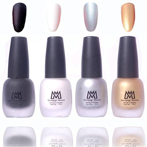 Makeup Mania Premium Nail Polish, Combo of 4 Velvet Matte Nail Paint - Black, White, Silver, Golden, 12 ml each bottle (MM#15)