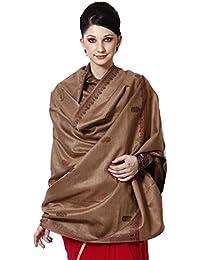 Weavers Villa, Woolen Blends Shawls for Women,Large in Size, (WV--530-BROWN, Brown)