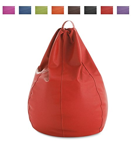 textil-home Puf - Pera moldeable XXL Puff - 90x90x135 cm- Color Rojo. TEJIDO POLIPIEL alta resistencia - Doble repunte - (Incluye relleno bolas Poliestireno) - 320 Litros capacidad.
